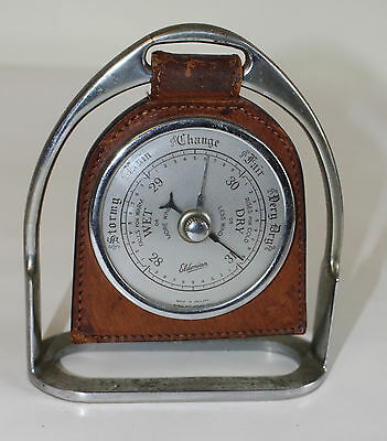 ELDONIAN DESK Barometer Set in Horse Stirrup and Leather Made in England