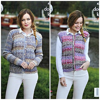 KNITTING PATTERN Ladies Long Sleeve Cable Cardigan & Waistcoat DK King Cole 4799
