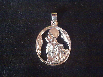Sterling silver 925 wolf howling at moon pendant pagan wiccan totem animal