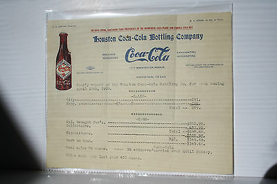 Coca Cola 1907 Stationary with Bottle and Sales Report