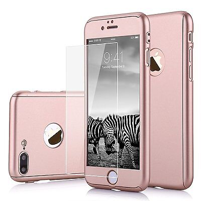 For Apple iPhone 7 Plus Hybrid 360° Ultra Thin Hard Case + Tempered Glass Cover