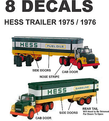 1975 1976 Complete Set Restoration Hess Trailer Truck and Cab Decal Nice Decals