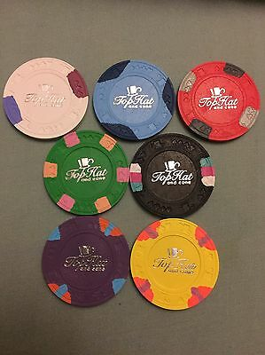 Paulson World Top Hat And Cane Hotstamped Poker Chip Samples