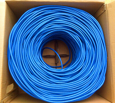 New RJ45 Cat6e LAN Twisted Cable 4 pair Shielded 305m Pull Box Blue 1000FT
