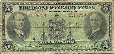 Canada Royal Bank Of Canada  $5 1935 Issue - Wilson & Holt - Priced To Sell
