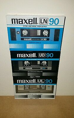 Vintage 1980's MAXELL Cassette Tapes (×3) NEW & SEALED : Made in Japan