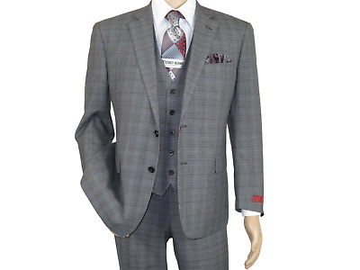 Mens RENOIR 3 Piece Vested Suit Glen Plaid Notch Lapel Business 278-1 Gray NEW