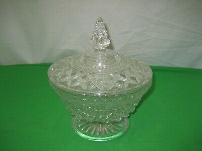 Vtg Clear Crystal Glass Pedestal Round Covered Candy Nut Dish Diamond Embossed