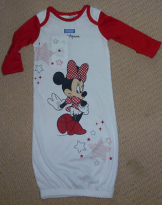 NWT Disney Minnie Mouse Licensed Baby Girls Summer Sleeping Gown Bag Size 00