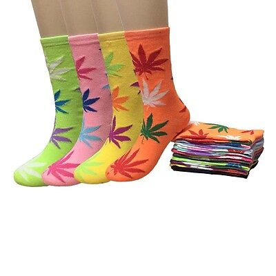 Lot 12 Pairs Womens Fashion Marijuana Weed Leaf Girls Crew Socks Size 9-11 New