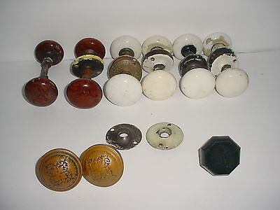 Vintage Mixed Lot Door Knobs Porcelain White Brown Brass Akro Agate