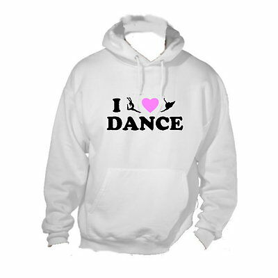 I Love Dance Choice of Colour Hearts White Hoodie Hooded Sweatshirt 5-15 YRS