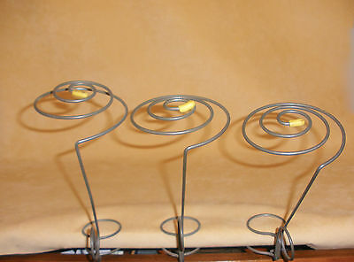 Set of 3 Antique Metal Shelf Hat Holders
