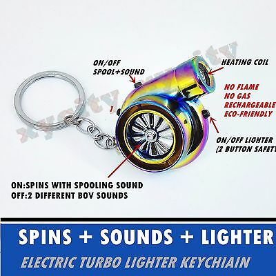Rechargeable Electric Turbo Lighter keychain Neochrome with BOV Sound