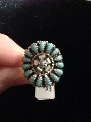 Native American Womens Turquoise Round Cluster Large Ring Size 6 Navajo Jewelry