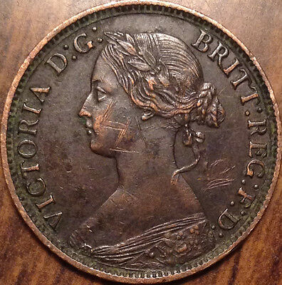 1862 Uk Great Britain Farthing Magnificent Example About Unc
