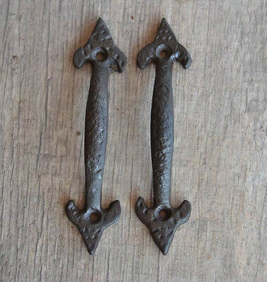 Antique Victorian french Iron door cabinet screen handles Pull Forge marks 4.5""