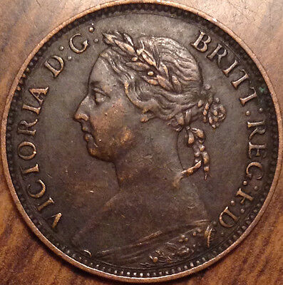 1893 Uk Great Britain Farthing Magnificent Example
