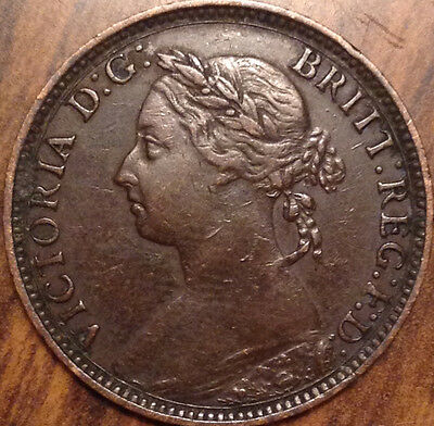1893 Uk Great Britain Farthing Magnificent Example !!