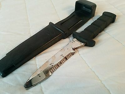 Vintage Dacor Diver's Knife with Rubber Sheath. Stainless Steel Blunt Tip.