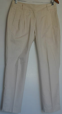 WITCHERY Ladies Cream Casual Cotton Tapered Pants Size 8 - 10