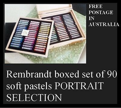 Rembrandt 90 Soft Pastels For Artists Portrait Selection In Wooden Box