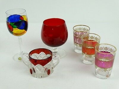 Collection of Coloured Glass Inc Ruby Flash Brandy Balloon Hand painted Bohemian