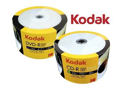 100 Kodak White Inkjet Printable Blank Disc COMBO (50 Pcs Each of CD-R & DVD-R)