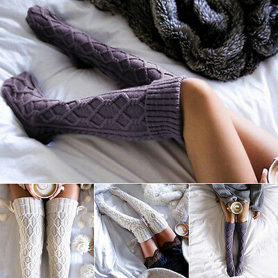 Women Winter Cable Knit Over knee Long Boot Thigh-High Warm Socks Leggings EW