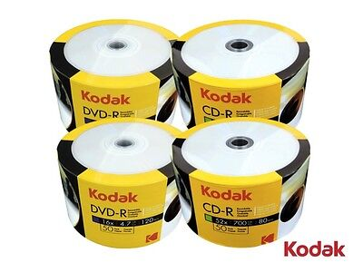 200 Kodak White Inkjet Printable Blank Disc COMBO (100 Pcs Each of CD-R & DVD-R)