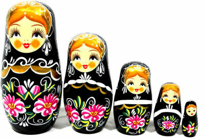 NEW 5 in 1 WOODEN NESTING DECOR MATRYOSHKA DOLL BABUSHKA RUSSIAN TOY RED BLACK