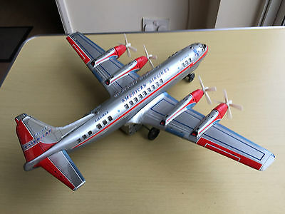 Vintage Tinplate Battery Operated American Airlines Toy Plane - Made In Japan