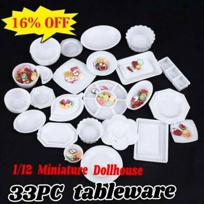 33 Pcs Dollhouse Miniature Tableware Plastic Plate Dishes Set Mini Food 2016