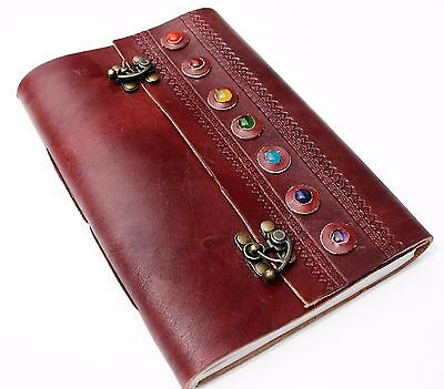 Handmade Brown Leather 7 Stone Travel Journal Diary Notebook Great Gift