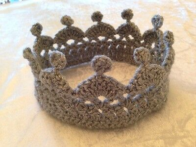 Luxury Child Sparkle Silver Crochet Crown Hat Christmas Party Princess Free P&p