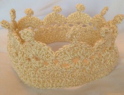 Luxury Child Cream Sparkle Crochet Knit Hat Crown Boy Girl Princess  Free P&p