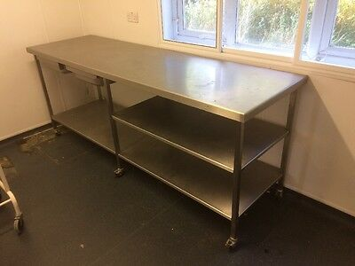 Commercial Stainless Steel Preparation Table 3 Lower Shelf & 2draws 3mtrs Long