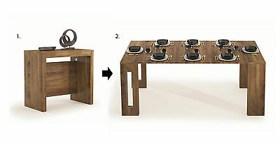 Italian Oak Look 4 in 1 Extending Dining Table Multi-Function Console Extendable