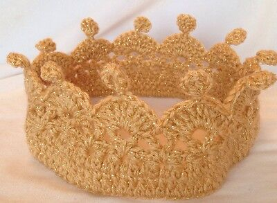 Luxury Adult Gold Sparkle Crochet Knit Hat Crown Prince Princess Party Free P&p