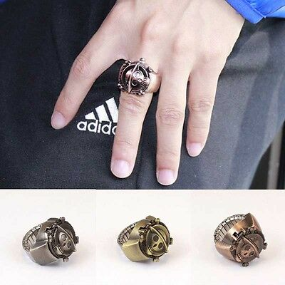 Fashion Vintage Men One Piece Finger Ring Quartz Dial Watchs Antique Gift