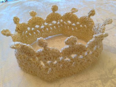 Luxury Adult Cream Sparkle Crochet Knit Hat Crown Prince Princess Party Free P&p