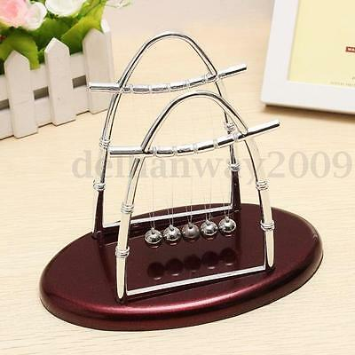 Newtons Cradle Steel Balance Balls Physics Science Pendulum Desk Kids Toy Gift A