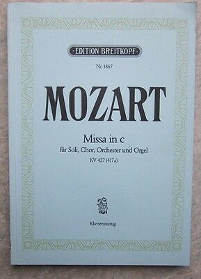 Mass in C Vocal Score by Mozart published Breitkopf *NEW*