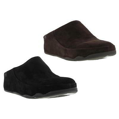 Fitflop Gogh Moc Womens Black Brown Suede Leather Clogs Mules Shoes Size 4-8