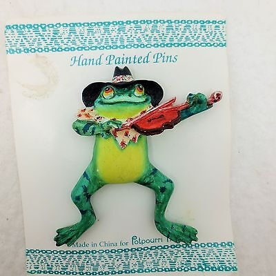 Hand Painted Frog in Hat Bandana Playing Violin Fiddle Brooch Pin Potpourri Pres