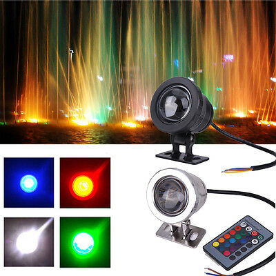 10W 16 Colors RGB LED Underwater Lamp Remote Control Pool Pond Fountain Light