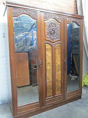 Antique Edwardian Triple  Wardrobe Burr Walnut & Mahogany