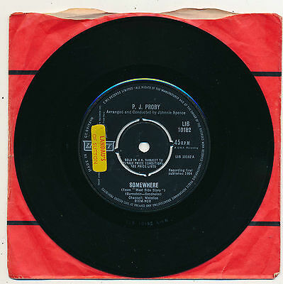 """P.J.PROBY - Somewhere / Just Like Him - 7"""" 45 rpm single"""