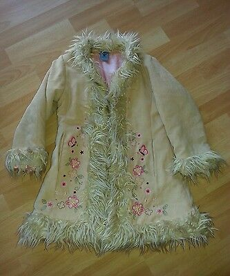 Girls Pumpkin Patch Faux Suede Fur Coat Age 6 Years Ex Con