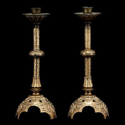Delightful Pair of Antique 1800's Gilded Bronze Candlesticks Candle Holders 3